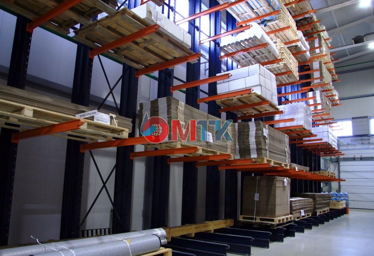 Консольные стеллажи на складе